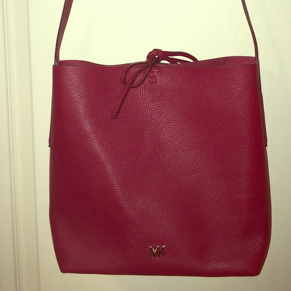80d52fb633a09a MICHAEL Michael Kors Bags | Maroon Michael Kors Large Leather Bag ...